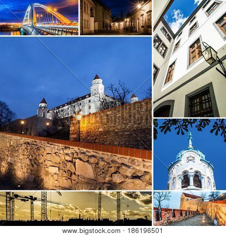 collage made of Bratislava photos in mosaic style
