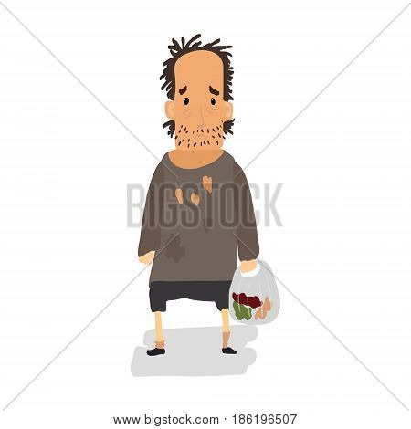 Homeless. Shaggy man in dirty rags and with a bag in his hand. Vector illustration
