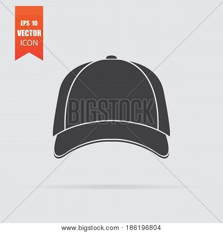 Baseball Cap Icon In Flat Style Isolated On Grey Background.