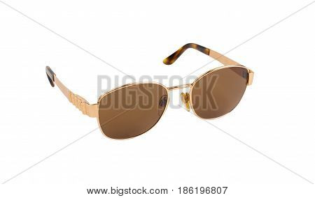 Gold Luxury Sunglasses Isolated On White Background