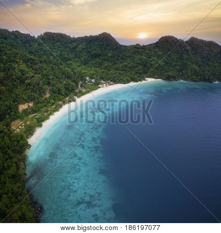 aerial view of nyaung oo phee island most popular traveling destination andaman sea southern of myanmar