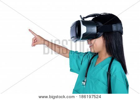 Asian Little Chinese Girl Playing Doctor With Vr Goggles