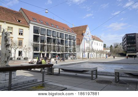 GRAZ, AUSTRIA - MARCH 19, 2017: People at the