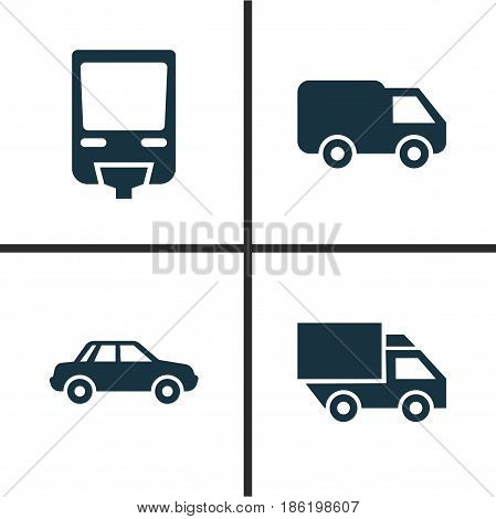 Transportation Icons Set. Collection Of Van, Automobile, Truck And Other Elements. Also Includes Symbols Such As Car, Camion, Automobile.