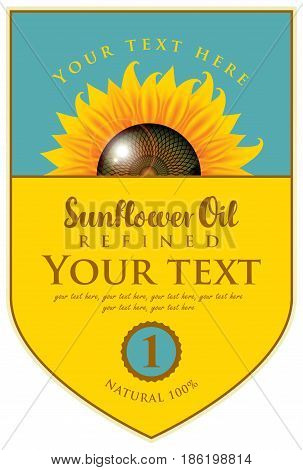 vector label for refined sunflower oil with sunflower and the inscription