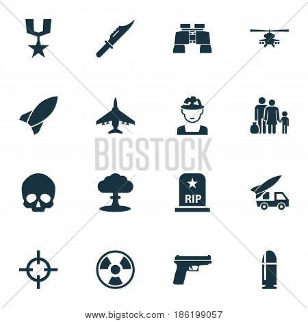 Battle Icons Set. Collection Of Fugitive, Missile, Rip And Other Elements. Also Includes Symbols Such As Bullet, Scalper, Chopper.