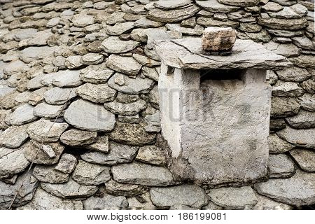 Typical roof architecture (of homes made out of Stone ) Pelion mountain area. Stone was used as an elementary material in buildings on mountain.Greece