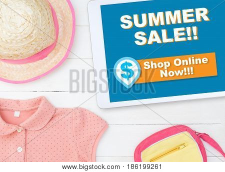 Online summer sale shopping store on tablet shop online now