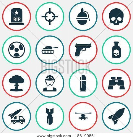 Warfare Icons Set. Collection Of Military, Danger, Weapons And Other Elements. Also Includes Symbols Such As Explosion, Bombshell, Rocket.