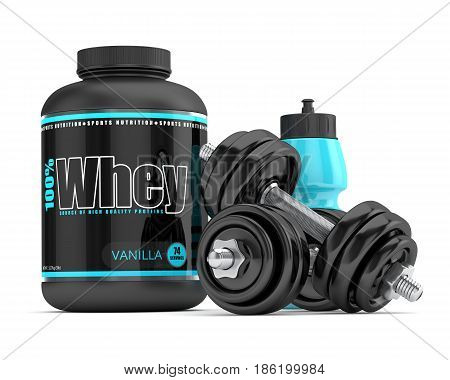3D Render Of Whey Proteins With Dumbbells And Water Bottle