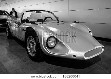 STUTTGART GERMANY - MARCH 02 2017: Roadster Colani GT 1964. Black and white. Europe's greatest classic car exhibition
