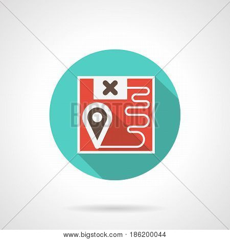 Symbol of railroad logistics. Abstract red map with points and route. Round flat design blue vector icon, long shadow.
