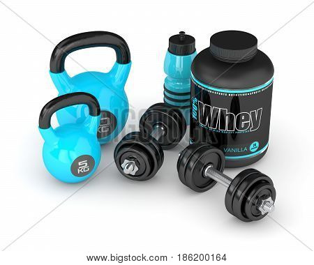 3D Render Of Whey Proteins With Dumbbells, Kettlebells And Bottle