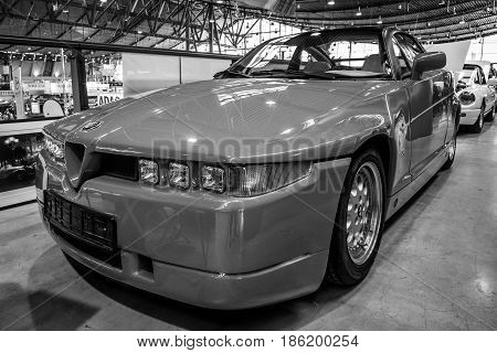 STUTTGART GERMANY - MARCH 02 2017: Sports car Alfa Romeo SZ (Sprint Zagato) or ES-30 1991. Black and white. Europe's greatest classic car exhibition