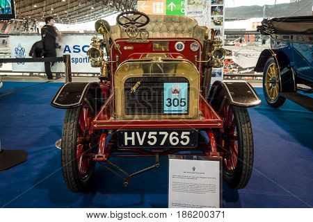 STUTTGART GERMANY - MARCH 02 2017: Vintage car Swift 7 HP Two-Seater Tourer 1904. Europe's greatest classic car exhibition