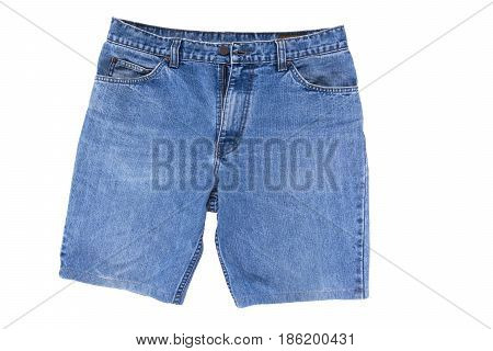 Short jean pants for men isolated on white background.