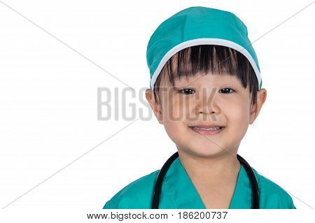 Asian Little Chinese Girl Dressed As A Doctor