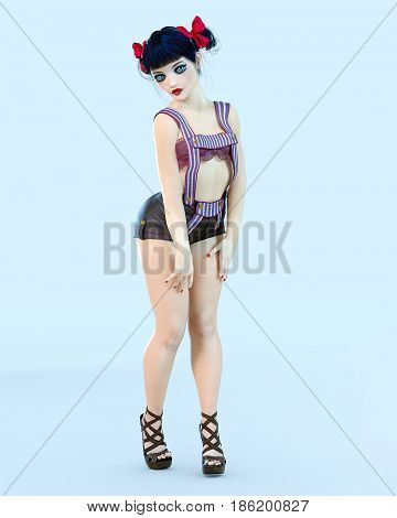 3D girl doll big blue eyes and bright makeup. Woman retro style shorts. High heel. Bow dark hair. Conceptual fashion art. Seductive candid pose. Photorealistic render illustration.