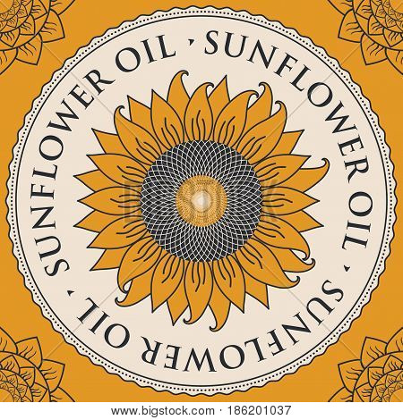 square vector banner for refined sunflower oil with sunflower inscribed in a round frame on a yellow background