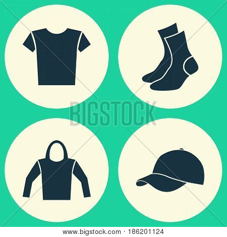 Clothes Icons Set. Collection Of Sweatshirt, Casual, Half-Hose And Other Elements. Also Includes Symbols Such As Trilby, Shirt, Clothes.