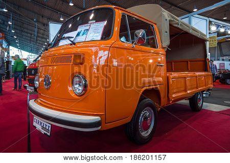 STUTTGART GERMANY - MARCH 02 2017: Light commercial vehicle Volkswagen Transporter T2 (regular cab) 1978. Europe's greatest classic car exhibition