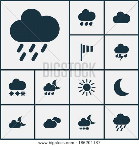 Weather Icons Set. Collection Of Flag, Snowy, Moon And Other Elements. Also Includes Symbols Such As Moon, Moonlight, Flag.
