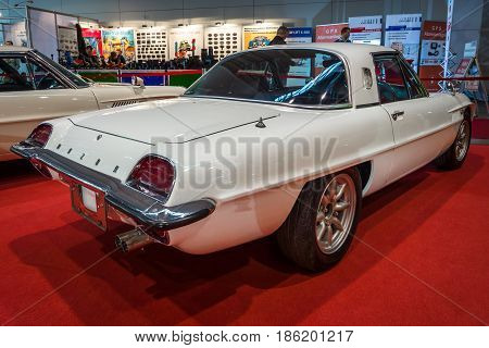 STUTTGART GERMANY - MARCH 02 2017: Sports car Mazda Cosmo Sport 110S Series II 1970. Europe's greatest classic car exhibition