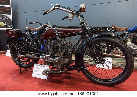 STUTTGART GERMANY - MARCH 02 2017: Motorcycle Wanderer Model V (616) 1923. Europe's greatest classic car exhibition