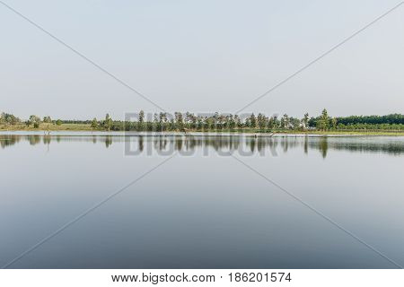 water and sky is beautiful in summer day at swamp