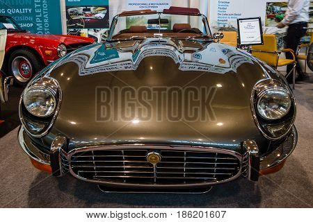 STUTTGART GERMANY - MARCH 02 2017: Sports car Jaguar E-Type V12 Series III Roadster 1974. Europe's greatest classic car exhibition