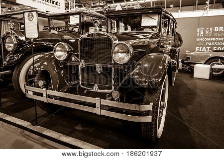 STUTTGART GERMANY - MARCH 02 2017: Vintage car Dodge Brothers Standard Six 1928. Sepia. Europe's greatest classic car exhibition