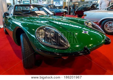 STUTTGART GERMANY - MARCH 02 2017: Sports car Marcos 1500 GT 1967. Europe's greatest classic car exhibition