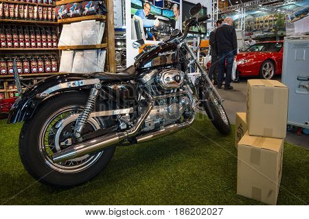 STUTTGART GERMANY - MARCH 02 2017: Modern motorcycle Harley-Davidson 2017. Europe's greatest classic car exhibition