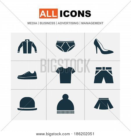 Dress Icons Set. Collection Of Cardigan, Heel Footwear, Stylish Apparel And Other Elements. Also Includes Symbols Such As Casual, Panama, Footwear.