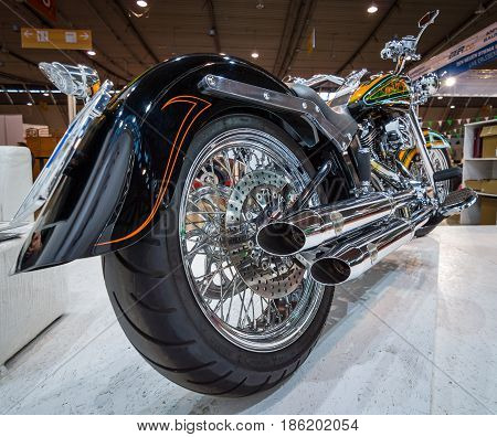 STUTTGART GERMANY - MARCH 02 2017: Classic motorcycle Harley-Davidson. Rear view. Europe's greatest classic car exhibition