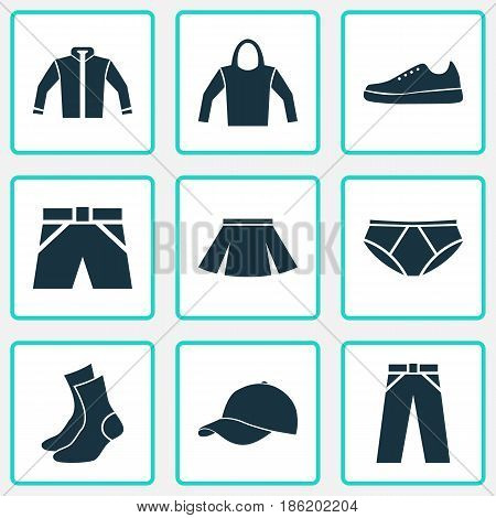 Garment Icons Set. Collection Of Sweatshirt, Cardigan, Half-Hose And Other Elements. Also Includes Symbols Such As Shorts, Trousers, Trilby.