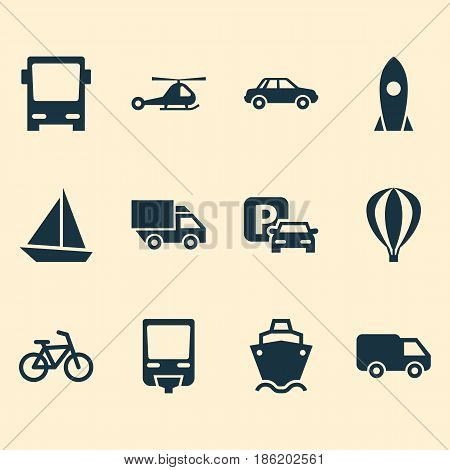 Shipment Icons Set. Collection Of Spaceship, Omnibus, Truck And Other Elements. Also Includes Symbols Such As Bike, Rocket, Camion.