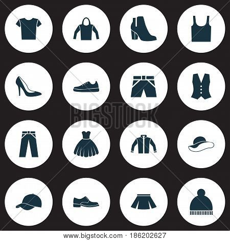 Dress Icons Set. Collection Of Elegant Headgear, Beanie, Female Winter Shoes And Other Elements. Also Includes Symbols Such As Casual, Beanie, Gumshoes.