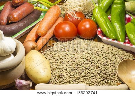 Ingredients for the preparation of a lentil stew