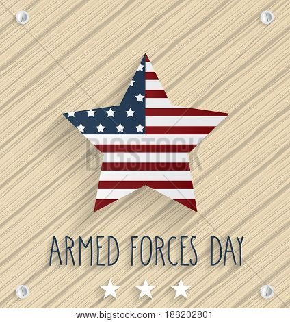 Armed Forces Day on wooden background with handwritten text. Vector illustration.