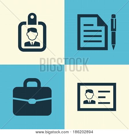 Business Icons Set. Collection Of Id Badge, Contract, Suitcase And Other Elements. Also Includes Symbols Such As Contract, Suitcase, Briefcase.