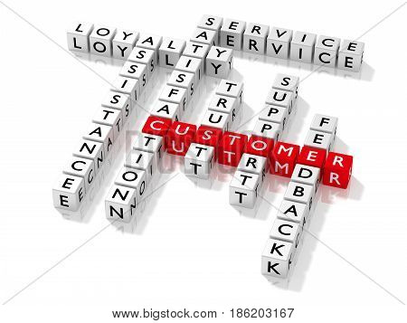 Crossword puzzle showing customer keywords as dice on white business concept 3D illustration