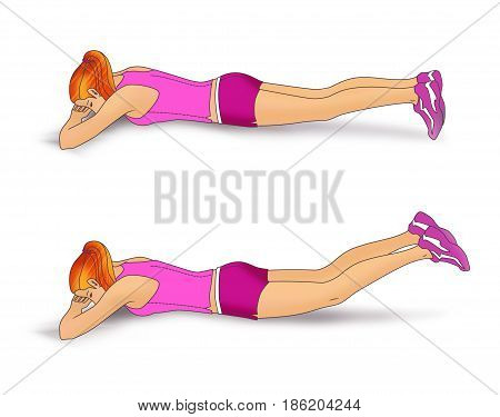 The girl lies face down on the folded hands and performs an exercise to strengthen the muscles of the buttocks: inverted scissors for legs. Isolated on white background