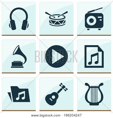 Audio Icons Set. Collection Of Start, Instrument, Barrel And Other Elements. Also Includes Symbols Such As Headphone, Dossier, Instrument.