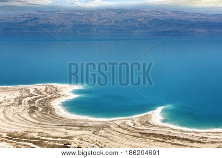 Famous Dead sea view in Israel with Jordania coast