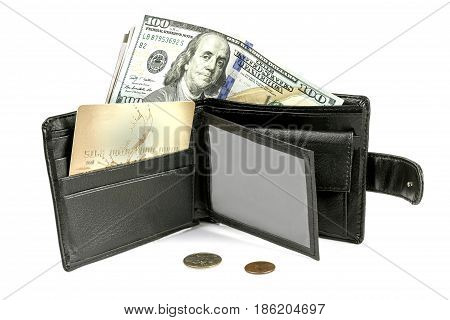 A purse money a plastic card and a trifle