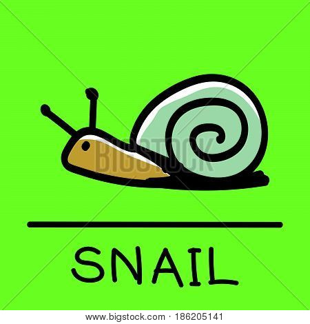 Cute Snail hand-drawn styledrawinghand drawn vector illustration.