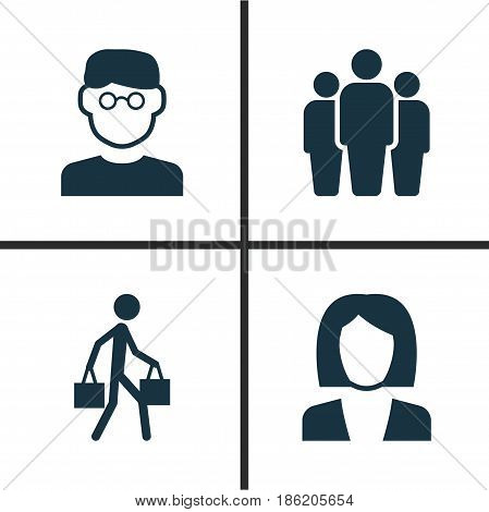 Human Icons Set. Collection Of Delivery Person, Businesswoman, Scientist And Other Elements. Also Includes Symbols Such As Team, Man, Delivery.
