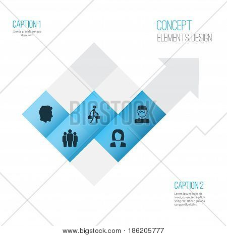 People Icons Set. Collection Of Businesswoman, Male, Delivery Person And Other Elements. Also Includes Symbols Such As Woman, Man, Courier.