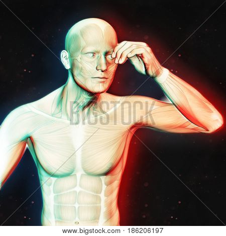 3D render of a male figure holding head in pain with dual colour effect